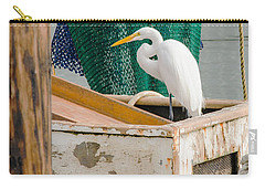 Egret With Fishing Net Carry-all Pouch by Allen Sheffield