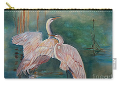 Carry-all Pouch featuring the painting Egrets In The Mist by Jenny Lee