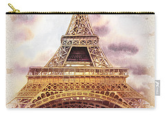 Carry-all Pouch featuring the painting Eiffel Tower Vintage Art by Irina Sztukowski