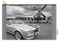 Eleanor Mustang With P51 Black And White Carry-all Pouch by Gill Billington