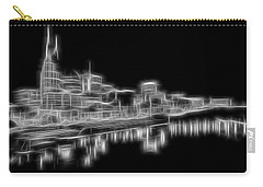 Electric Nashville Skyline At Night Carry-all Pouch by Dan Sproul