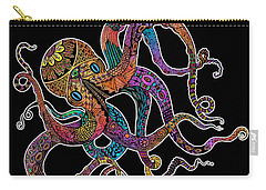 Electric Octopus On Black Carry-all Pouch