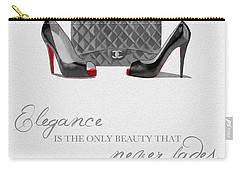 Elegance Never Fades Black And White Carry-all Pouch by Rebecca Jenkins