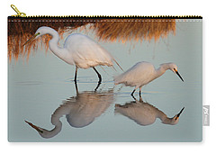 Elegant Big And Small Great White And Snowy Egrets Carry-all Pouch