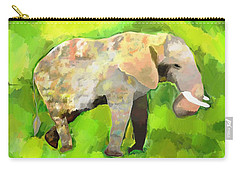 Carry-all Pouch featuring the painting Elephant 4 by Jeanne Fischer