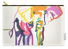 Elephant In Color Ecru Carry-all Pouch by Go Van Kampen