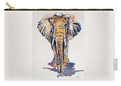 Elephant In Gold Carry-all Pouch by Kovacs Anna Brigitta