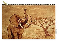 Carry-all Pouch featuring the painting Elephant Majesty Original Coffee Painting by Georgeta  Blanaru