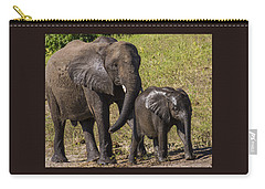 Elephant Mom And Baby Carry-all Pouch