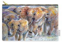 Carry-all Pouch featuring the painting Elephant Walk by Bernadette Krupa