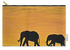 Elephants - At - Sunset Carry-all Pouch by D Hackett