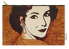 Elizabeth Taylor Original Coffee Painting On Paper Carry-all Pouch by Georgeta  Blanaru