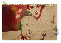 Elizabeth Taylor Watercolor Portrait On Worn Distressed Canvas Carry-all Pouch
