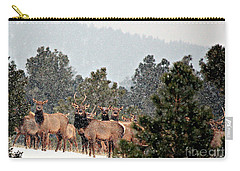 Carry-all Pouch featuring the photograph Elk In The Snowing Open by Barbara Chichester