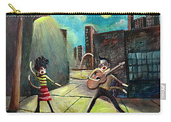 Carry-all Pouch featuring the painting Elvis And Phyllis Diller Meet In St. Louis On A Moonlit Night As Sock Monkeys by Randol Burns