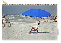 Carry-all Pouch featuring the photograph Empty Beach Chair by Charles Beeler