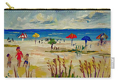 Carry-all Pouch featuring the painting Enjoying Siesta Beach by Lou Ann Bagnall