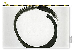 Enso #1 - Zen Circle Minimalistic Black And White Carry-all Pouch