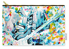 Eric Clapton - Watercolor Portrait Carry-all Pouch by Fabrizio Cassetta