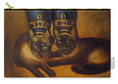 Carry-all Pouch featuring the painting Cats Of Egypt by Randol Burns