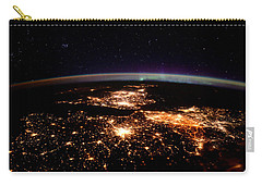 Carry-all Pouch featuring the photograph Europe At Night, Satellite View by Science Source