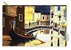 Carry-all Pouch featuring the painting Evening Lights - Venice by Bill Holkham