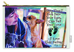 Carry-all Pouch featuring the digital art Every Time I Look Into Your Eyes by Kathy Tarochione