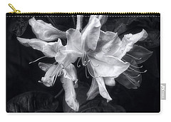 Exbury Azalea In Black And White Carry-all Pouch by Louise Kumpf