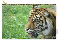 Carry-all Pouch featuring the photograph Eye Of The Tiger by Lingfai Leung