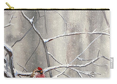 Eyeing The Feeder Alaskan Redpoll In Winter Carry-all Pouch by Karen Whitworth