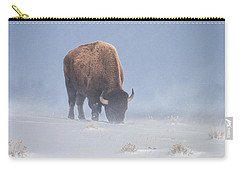 Carry-all Pouch featuring the photograph Faces The Blizzard by Jack Bell