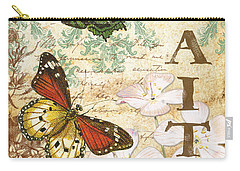 Faith And Butterflies Carry-all Pouch by Jean Plout