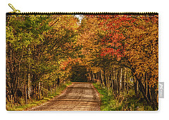 Carry-all Pouch featuring the photograph Fall Color Along A Dirt Backroad by Jeff Folger