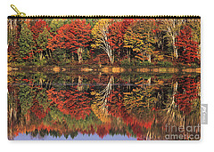 Carry-all Pouch featuring the photograph Fall Color Reflected In Thornton Lake Michigan by Dave Welling
