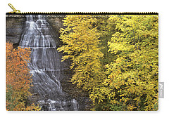 Carry-all Pouch featuring the photograph Fall Color Surrounds Chapel Falls On The Michigan Upper Peninsula by Dave Welling