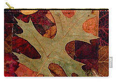 Carry-all Pouch featuring the mixed media Fall Leaf Collage by Anna Ruzsan
