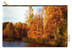 Carry-all Pouch featuring the photograph Fall Scene At Hedden Pond With Orton Effect by Eleanor Abramson
