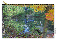 Carry-all Pouch featuring the photograph Fall Scene By Pond by Brenda Brown