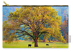 Fall Tree With Two Cows Carry-all Pouch