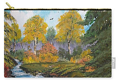 Carry-all Pouch featuring the painting Rushing Waters  Falls  by Sharon Duguay