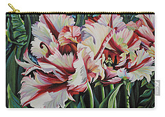 Carry-all Pouch featuring the painting Fancy Parrot Tulips by Jane Girardot