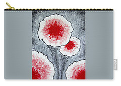 Carry-all Pouch featuring the painting Fantasy Flowers In Red No 1 by Ben Gertsberg