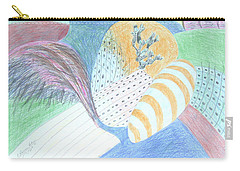 Carry-all Pouch featuring the drawing Fantasy Of Egg And Cactus by Esther Newman-Cohen