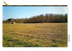 Carry-all Pouch featuring the photograph Farm Field With Old Barn by Amazing Photographs AKA Christian Wilson