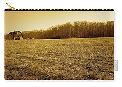 Carry-all Pouch featuring the photograph Farm Field With Old Barn In Sepia by Amazing Photographs AKA Christian Wilson
