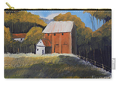 Carry-all Pouch featuring the painting Farm With Red Barn by Pamela  Meredith