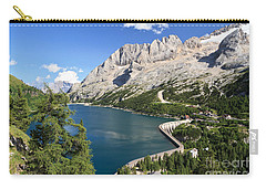 Carry-all Pouch featuring the photograph Fedaia Pass With Lake by Antonio Scarpi