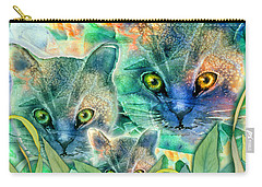 Carry-all Pouch featuring the painting Feline Family by Teresa Ascone