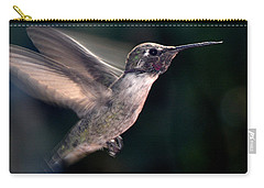 Carry-all Pouch featuring the photograph Male Anna In Flight by Jay Milo