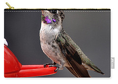 Carry-all Pouch featuring the photograph Female Anna's Hummingbird On Perch Posing For Her Supper by Jay Milo